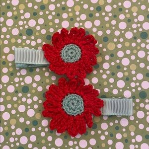 New handmade crochet pair of flower hair clips